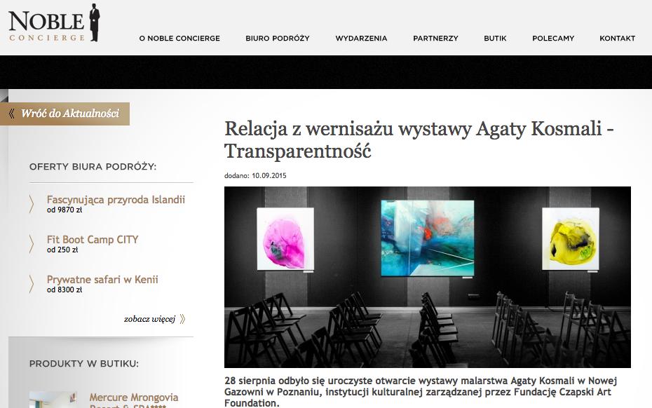 Agata Kosmala, Noble bank, iwona żelazny